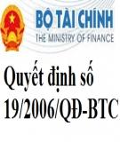 Quyết định số 19/2006/QĐ-BTC về việc ban hành chế độ kế toán doanh nghiệp