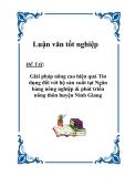 """Luận văn tốt nghiệp """"Giải pháp nâng cao hiệu quả Tín dụng đối với hộ sản xuất tại Ngân hàng nông nghiệp & phát triển nông thôn huyện Ninh Giang"""""""