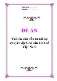 """Đề án """"Vai trò của đầu tư tới sự chuyển dịch cơ cấu kinh tế Việt Nam"""""""