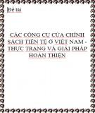 Luận văn: Các công cụ của chính sách tiền tệ ở Việt Nam - Thực trạng và giải pháp hoàn thiện