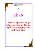 """Đề án """"Phát triển nguồn nhân lực thông qua công tác đào tạo nghề xây dựng tại địa bàn tỉnh Nam Định"""""""