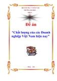 """Đề án """"Chất lượng của các Doanh nghiệp Việt Nam hiện nay"""""""