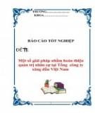 Báo cáo tốt nghiệp: Một số giải pháp nhằm hoàn thiện quản trị nhân sự tại Tổng công ty xăng dầu Việt Nam