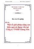 """Luận văn tốt nghiệp """"Một số giải pháp nâng cao hiệu quả sử dụng vốn tại Công ty TNHH Giang Sơn"""""""