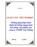 """Luận văn tốt nghiệp """"Những giải pháp hoàn thiện hệ thống mạng lưới bán hàng sản phẩm của công ty TNHH Việt Thắng"""""""