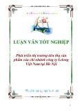 """Luận văn tốt nghiệp """"Phát triển thị trường tiêu thụ sản phẩm của chi nhánh công ty Lelong Việt Nam tại Hà Nội"""""""