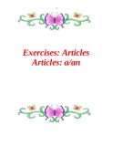 Exercises: Articles  Articles: a/an