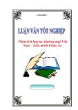 """Luận văn tốt nghiệp """"Phân tích hợp tác thương mại Việt Nam – Liên minh Châu Âu"""""""