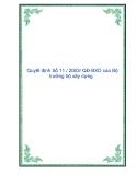 Quyết định Số 11 / 2003/ QĐ-BXD của Bộ trưởng bộ xây dựng