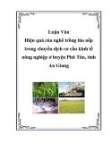 """Luận Văn: """"Hiệu quả của nghề trồng lúa nếp trong chuyển dịch cơ cấu kinh tế nông nghiệp ở huyện Phú Tân, tỉnh An Giang"""""""