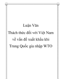 Luận văn - Thách thức đối với Việt Nam về vấn đề xuất khẩu khi Trung Quốc gia nhập WTO