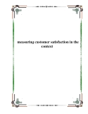 measuring customer satisfaction in the context