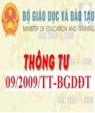 Thông tư số 09/2009/TT-BGDĐT về việc ban hành quy chế thực hiện công khai đối với cơ sở giáo dục của hệ thống giáo dục quốc dân