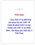 Tiểu luận triết học: Quy luật về sự phù hợp của quan hệ sản xuất với trình độ phát triển của lực lượng sản xuất và sự nhận thức, vận dụng quy luật này ở Việt Nam