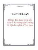 Tiểu luận: Tín dụng trong nền kinh tế thị trường định hướng xã hội chủ nghĩa ở Việt Nam