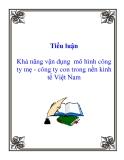 Tiểu luận:  Khả năng vận dụng  mô hình công ty mẹ - công ty con trong nền kinh tế Việt Nam