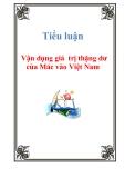 Tiểu luận: Vận dụng giá  trị thặng dư của Mác vào Việt Nam
