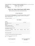 Giấy xác nhận tình trạng hôn nhân (Dùng cho công dân Việt Nam cư trú ở trong nước)