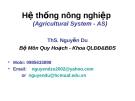 Hệ thống nông nghiệp - Ths Nguyễn Du