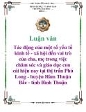 Luận văn: Tác động của một số yếu tố kinh tế - xã hội đến vai trò của cha, mẹ trong việc chăm sóc và giáo dục con cái hiện nay tại thị trấn Phú Long - huyện Hàm Thuận Bắc - tỉnh Bình Thuận