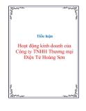 Tiểu luận Hoạt động kinh doanh của Công ty TNHH Thương mại Điện Tử Hoàng Sơn