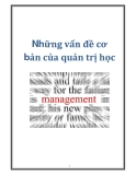 Những vấn đề cơ bản của quản trị học