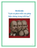 """Bài tiểu luận """"Lịch sử phát triển của phép biện chứng trong triết học"""""""