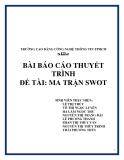 Báo cáo thuyết trình: Ma trận SWOT