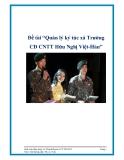 """Đề tài """"Quản lý ký túc xá Trường CĐ CNTT Hữu Nghị Việt-Hàn"""""""