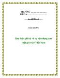 Tiểu luận về: 'Quy luật giá trị và sự vận dụng quy luật giá trị ở Việt Nam'