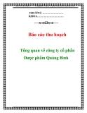 """Báo cáo thu hoạch """"Tổng quan về công ty cổ phần Dược phẩm Quảng Bình"""""""