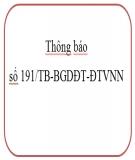 Thông báo số 191/TB-BGDĐT-ĐTVNN