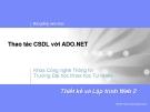 Thao tác CSDL với ADO.NET