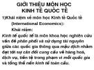 Bài giảng môn Kinh tế quốc tế