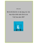 """Đề tài """" Bộ ba bất khả thi và vận dụng vào việc thực hiện chính sách tiền tệ của Việt Nam năm 2007"""""""