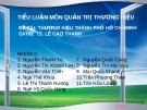 Báo cáo nhóm : Thương hiệu Thành Phố Hồ Chí Minh