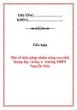 Tiểu luận - Một số biện pháp nhằm nâng cao chất lượng dạy và học ở  trường THPT Nguyễn Siêu