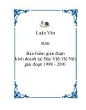 """Đề tài """"Bảo hiểm gián đoạn kinh doanh tại Bảo Việt Hà Nội giai đoạn 1998 - 2001"""""""
