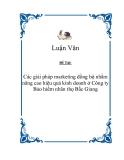 Đề tài về: 'Các giải pháp marketing đồng bộ nhằm nâng cao hiệu quả kinh doanh ở Công ty Bảo hiểm nhân thọ Bắc Giang'
