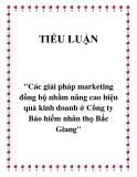 """Đề tài  """"Các giải pháp marketing đồng bộ nhằm nâng cao hiệu quả kinh doanh ở Công ty Bảo hiểm nhân thọ Bắc Giang"""""""