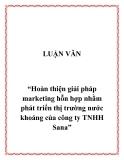 """Đề tài  """"Hoàn thiện giải pháp marketing hỗn hợp nhằm phát triển thị trường nước khoáng của công ty TNHH Sana"""""""