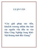 """Đề tài """"Các giải pháp xúc tiến, khuếch trương nhằm thu hút các nguồn vốn đầu tư vào Khu Công Nghiệp Song Khê-Nội Hoàng tỉnh Bắc Giang"""""""