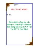 Luận văn: Hoàn thiện công tác xây dựng và thực hiện kế hoạch bán hàng tại công ty CP Vật Tư BVTV Hoà Bình