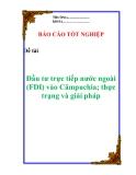 """Luận văn:  """" Đầu tư trực tiếp nước ngoài (FDI) vào Cămpuchia; thực trạng và giải pháp """""""