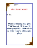 """Luận văn:  """"  Quan hệ thương mại, giữa Việt Nam và EU trong 10 năm qua (1990 - 2000) và đề ra triển vọng và những giải pháp """""""