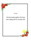 Văn hóa doanh nghiệp Việt Nam trước những đòi hỏi của thực tiễn