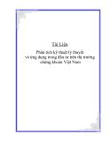 """Đề tài """" Phân tích kỹ thuật lý thuyết và ứng dụng tong đầu tư trên thị trường chứng khoán Việt Nam """""""