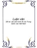 """Luận văn """" cải cách kinh tế của Trung Quốc vào Việt Nam """""""
