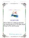 """Đề tài """"Điều tra và đánh giá tình hình sản xuất lúa nước tại xã Tụ Nhân, huyện Hoàng Su Phì, tỉnh Hà giang"""""""