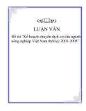 """Đề tài """"Kế hoạch chuyển dịch cơ cấu ngành nông nghiệp Việt Nam thời kỳ 2001-2005"""""""
